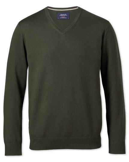Dark green merino v-neck jumper