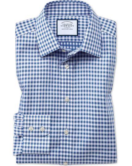 Bügelfreies Extra Slim Fit Hemd in Mittelblau mit Gingham-Karos