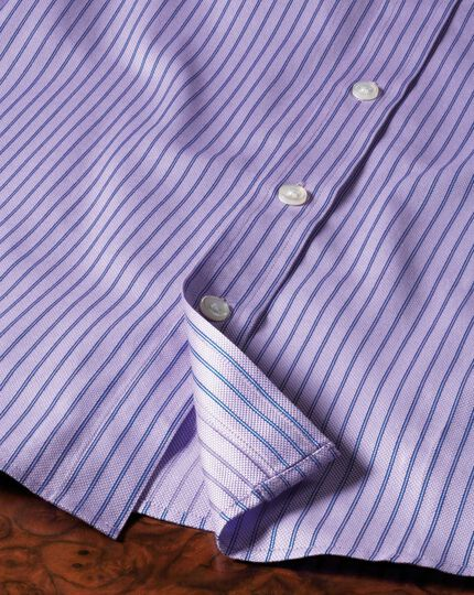 Classic fit Egyptian cotton textured stripe lilac shirt