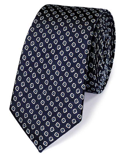 Navy and white silk slim diamond neat classic tie