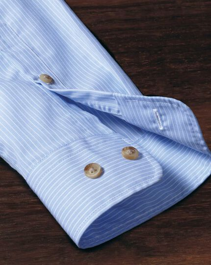Slim fit non-iron poplin sky blue stripe shirt
