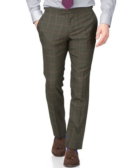 Khaki slim fit thornproof luxury suit trousers