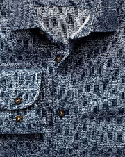 Extra slim fit slub cotton blue and white shirt