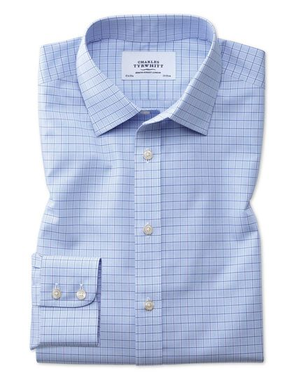 Extra slim fit non-iron multi check blue shirt