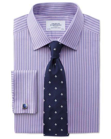Slim fit Egyptian cotton textured stripe lilac shirt