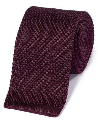 Cravate maille slim classique bordeaux en soie