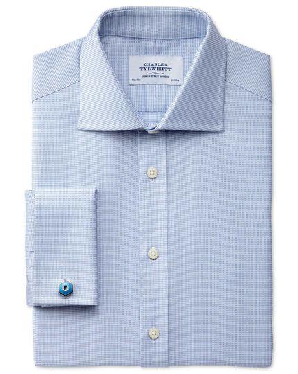 Slim fit semi-cutaway collar Regency weave sky blue shirt