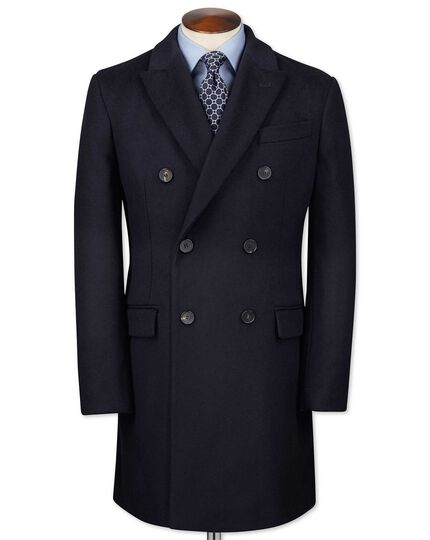 Doppelreiher-Mantel aus Wolle / Kaschmir in Marineblau