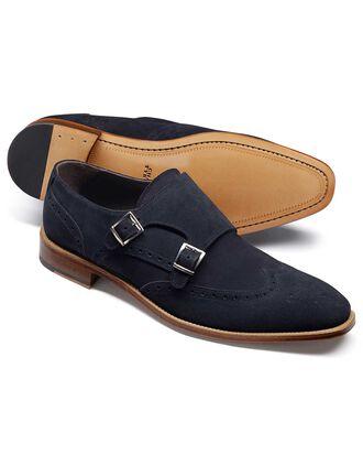 Navy suede double buckle monk shoe