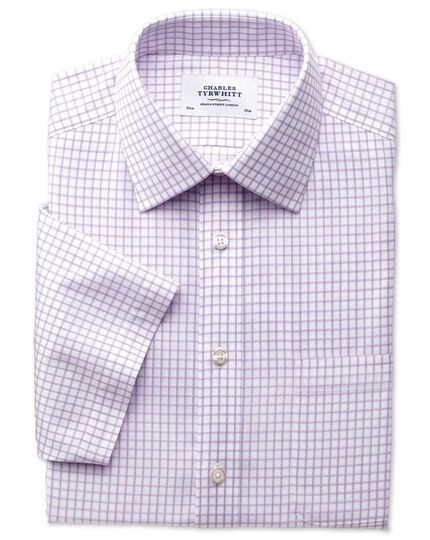 Classic fit non-iron windowpane short sleeve lilac shirt