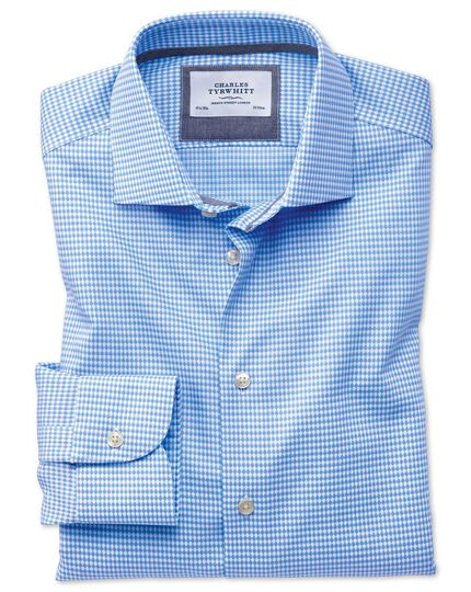 Classic fit semi-spread collar business casual non-iron modern textures sky blue shirt