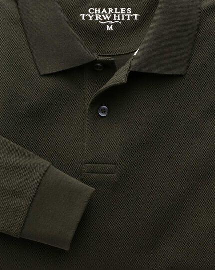Dark green pique long sleeve polo