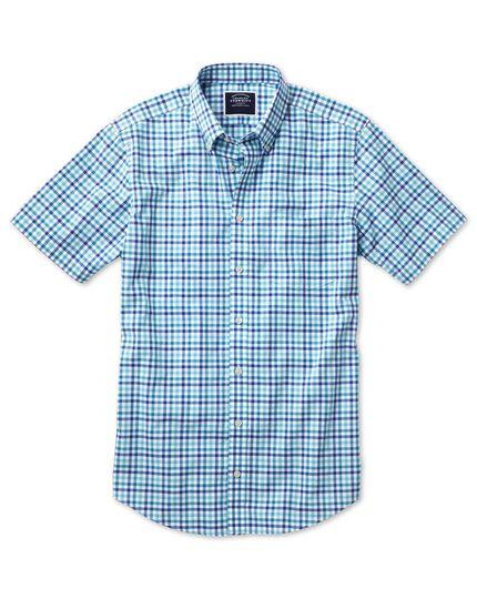 Chemise vichy bleue en popeline slim fit à manches courtes