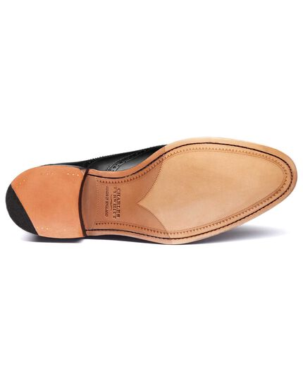 Chaussures Oxford Ashton noires en cuir de veau avec bout fleuri