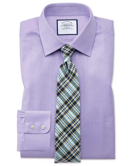 Extra Slim Fit Hemd mit feinem Fischgrätmuster in Flieder