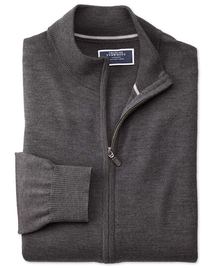 Charcoal merino wool zip through cardigan