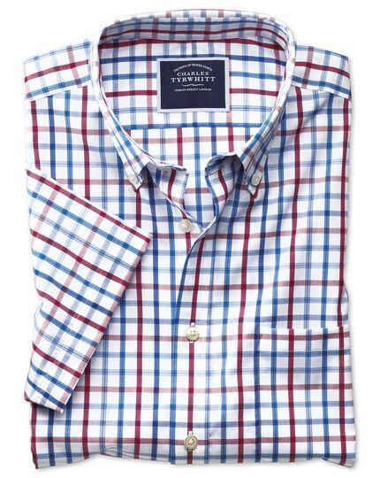 Bügelfreies Classic Fit Kurzarmhemd aus Popeline mit Button-down Kragen und Karos in Rot