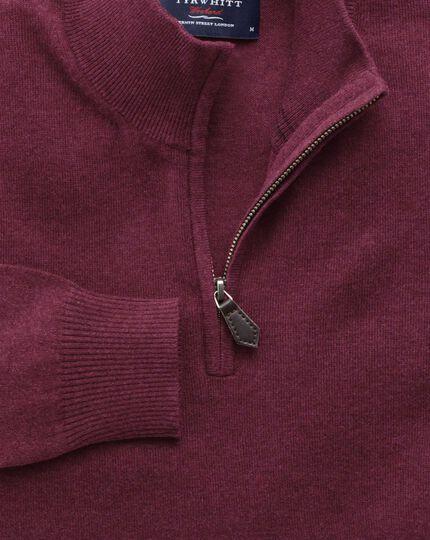 Wine cotton cashmere zip neck jumper