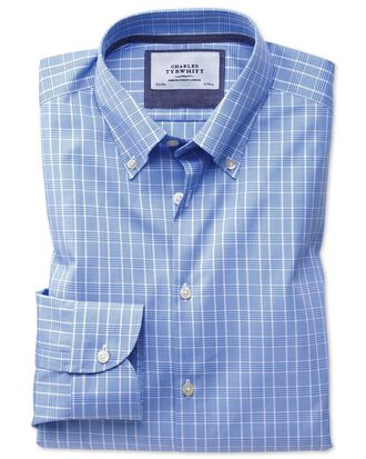 Extra slim fit button-down business casual non-iron Prince of Wales light blue shirt