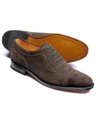Parker Budapester Oxford-Schuh mit Zehenkappe aus Veloursleder in Dunkelgrau