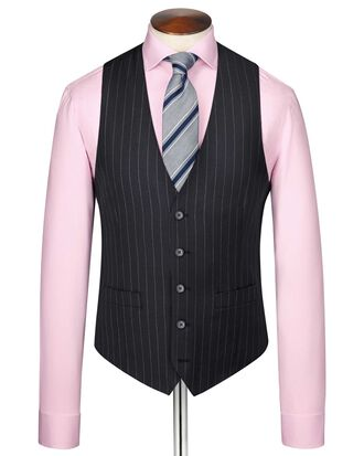 Navy stripe adjustable fit twill business suit waistcoat