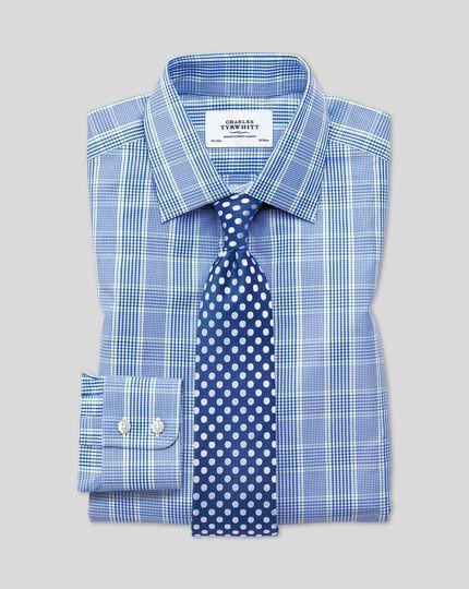 Slim Fit Hemd in Blau und Grün mit Prince-of-Wales-Karos