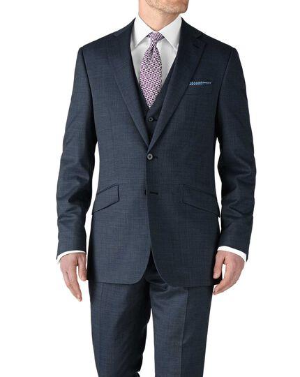 Airforce blue slim fit end-on-end business suit jacket