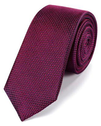 Cravate slim classique myrtille partiellement unie en soie texturée