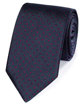 Dark grey and berry silk small spot classic tie