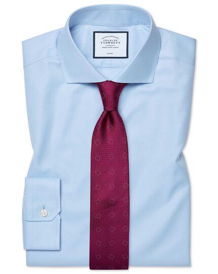 Super slim fit spread collar non-iron twill blue shirt