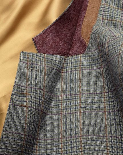 Veste verte en tweed slim fit à carreaux et bordure luxe