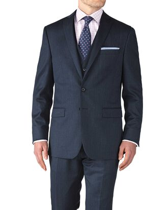Slim Fit Businessanzug Sakko aus Twill in Blau