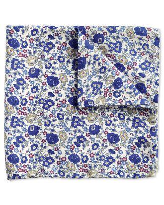Royal blue multi luxury Italian floral pocket square