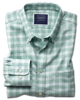 Slim fit button-down non-iron twill green and white  shirt