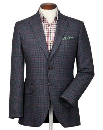 Veste bleu marine et rose en tweed britannique slim fit à carreaux
