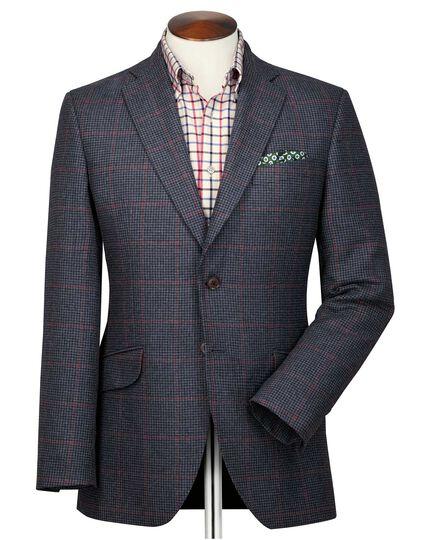 Veste bleu marine et rose en tweed britannique coupe droite à carreaux