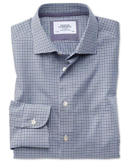 Classic Fit Business-Casual Hemd in Marineblau und Grau mit Gingham-Karos