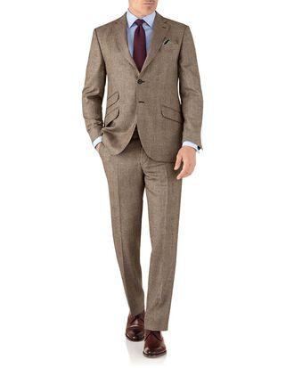 Costume de luxe brun clair en sergé britannique coupe droite à carreaux