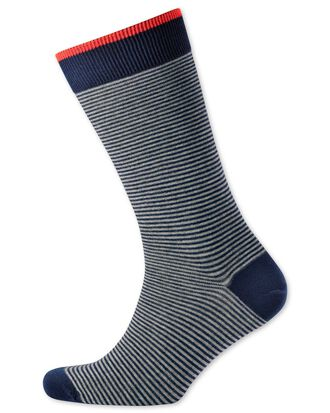 Navy and grey fine stripe socks