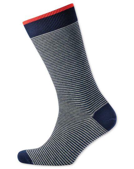 Navy and grey fine stripe socks