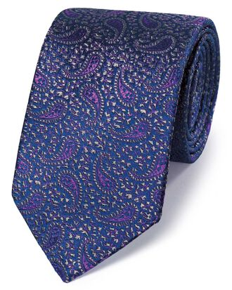Navy and purple silk paisley English luxury tie