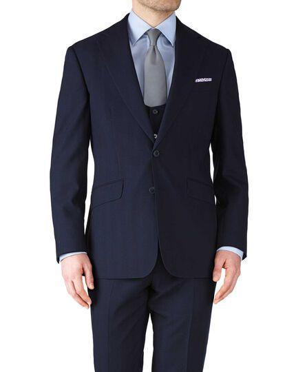 Navy slim fit herringbone business suit jacket