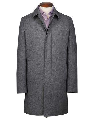 Imperméable gris en coton à motif pied-de poule