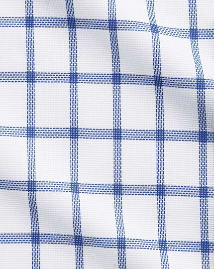Slim fit business casual semi-cutaway collar textured check white and blue shirt