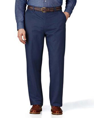 Classic Fit Chino Hose ohne Bundfalte in Blau