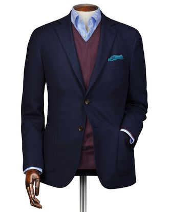 Slim fit navy wool Italian travel blazer