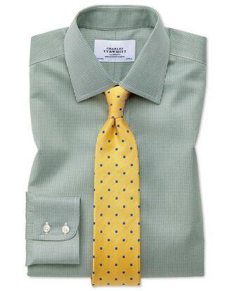 Bügelfreies Classic Fit Hemd in olivgrün mit Hahnentritt