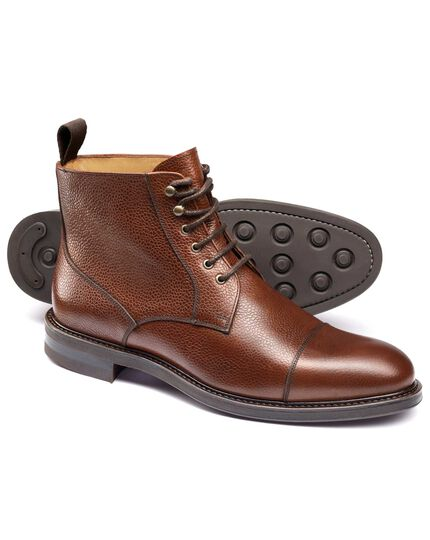 Brown Temple toe cap boots