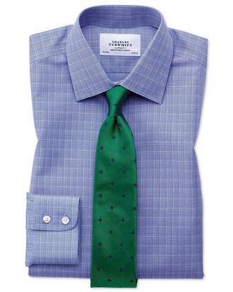 Bügelfreies Slim Fit Hemd in Blau mit Prince-of-Wales-Karos
