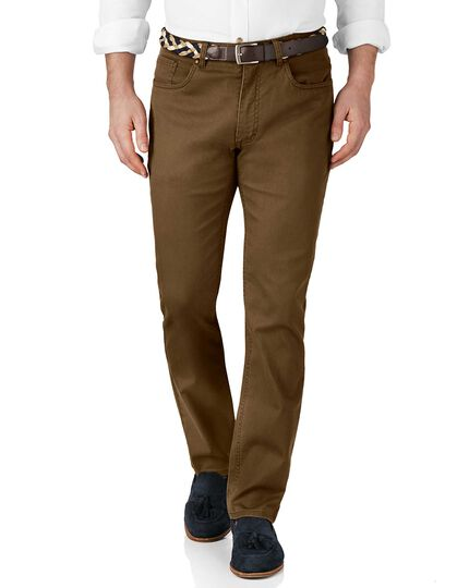 Brown slim fit stretch pique 5 pocket pants